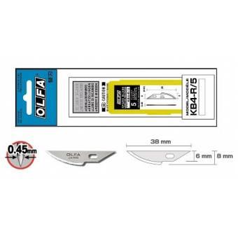 OL KB4-R/5 Набор лезвий (радиусных) из высокоуглеродистой стали к ножу OL AK-4 5 шт, Olfa